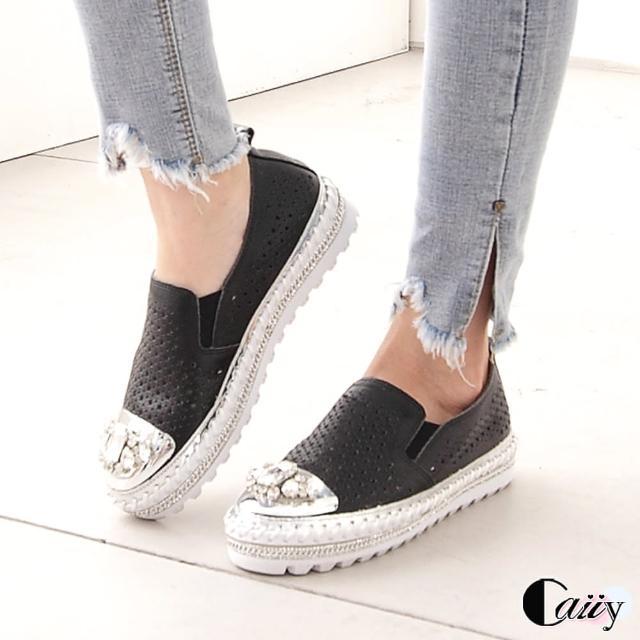 【Caiiy】休閒鞋.真皮鑲鑽懶人鞋A42(黑色/白色)/