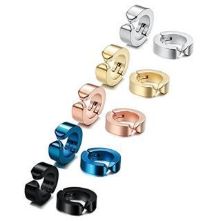【RJNEWYORK】時尚流行男女情侶款圓圈無洞耳夾式耳環(黑色金色藍色鋼色玫瑰金5色可選)