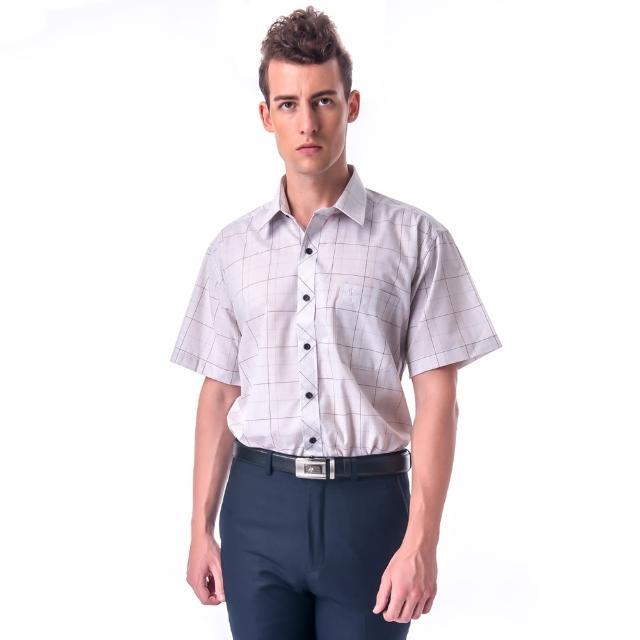 【金安德森】棕藍白線大格短袖襯衫-fast