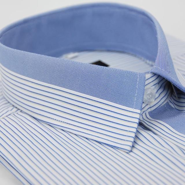 【金安德森】白底寬藍條變化領短袖襯衫-fast