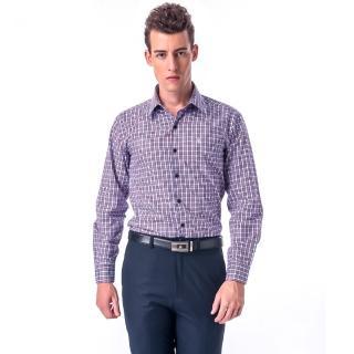 【金安德森】白底藍紅格紋相間窄版長袖襯衫-fast