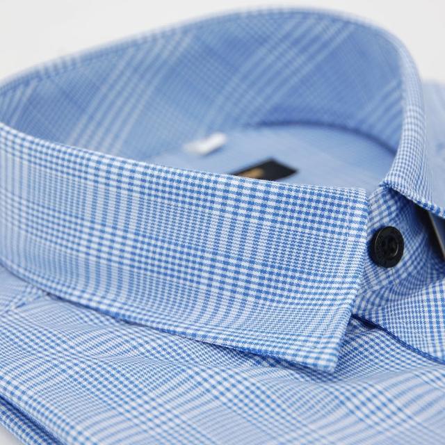 【金安德森】藍色寬格窄版長袖襯衫-fast