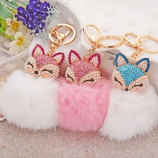 【Angel】創意可愛小狐狸毛毛球鋯石包包扣鑰匙圈(17色可選)