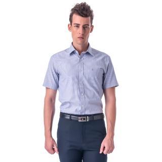 【金安德森】灰色白細紋窄版短袖襯衫-fast