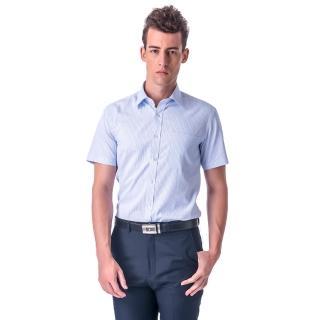 【金安德森】白底藍條紋窄版短袖襯衫-fast