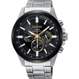 【SEIKO 精工】Criteria 玩酷太陽能計時碼錶-黑x銀42mm(V175-0ER0D  SSC679P1)