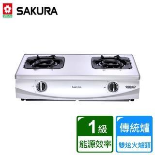 【SAKURA 櫻花】二口雙炫火珍珠壓紋桌上式台爐(G-5900S)