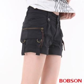 【BOBSON】女款銅色拉鍊短褲(黑153-88)
