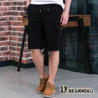 【Dreamming】美式街頭鬆緊抽繩休閒工作短褲(黑色)