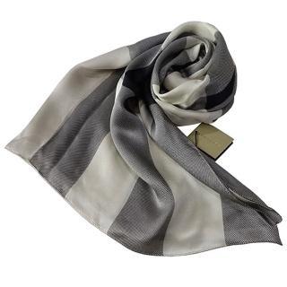 【BURBERRY 巴寶莉】格紋絲綢緞面圍巾(米白色)
