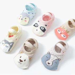 【JoyNa】動物防滑襪地板襪襪船襪寶寶襪子(三雙入)