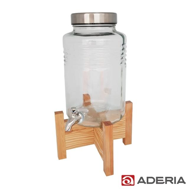 【ADERIA】日本進口時尚玻璃飲料桶 5L(不鏽鋼水龍頭附原木架)