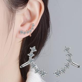 【梨花HaNA】韓國925銀無垠星空鋯石相連耳骨夾耳環(一對)