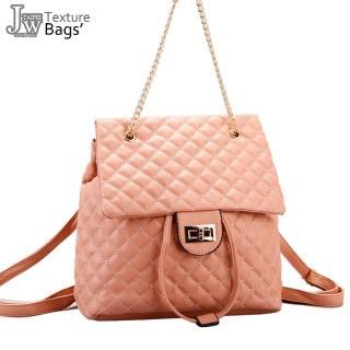 【JW】日系菱格壓紋鏈帶束口二用後背包(共5色)