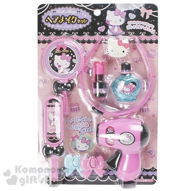 〔小禮堂〕Hello Kitty 夢幻寶石梳妝組玩具《粉黑.髮箍.香水瓶.吹風機》適合3歲以上孩童
