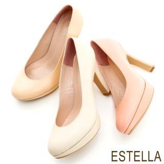 【ESTELLA】MIT全真皮粉嫩系厚底高跟鞋(共三色)