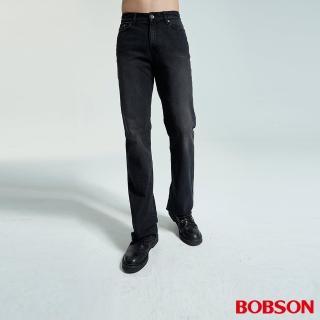 【BOBSON】男款黑色刷白喇叭褲(1679-88)