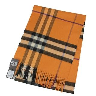 【BURBERRY 巴寶莉】經典大格紋喀什米爾羊毛圍巾(橘色)