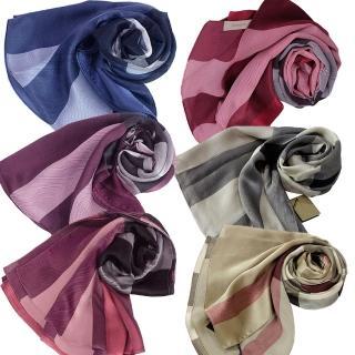BURBERRY格紋絲綢緞面圍巾(駝)