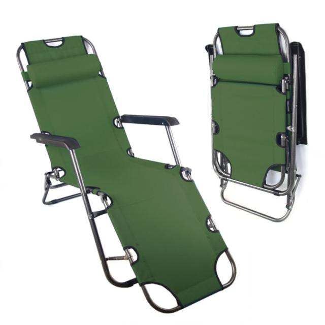【TreeWalker】單人三段式躺椅、露營床(軍綠色)