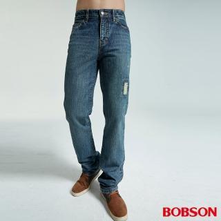 【BOBSON】男款刷破中藍色直筒褲(藍1699-53)