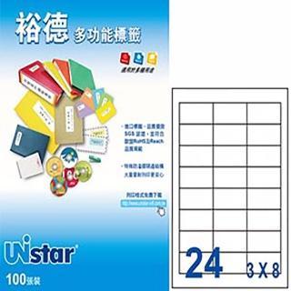 【Unistar 裕德】3合1電腦標籤 US4670(24格 100張/盒)