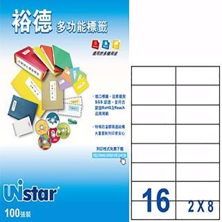 【Unistar 裕德】3合1電腦標籤 US4462(16格 100張/盒)
