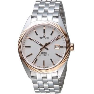 【TITONI 梅花錶】宇宙系列摩登經典機械腕錶(878 SRG-606 玫瑰金)