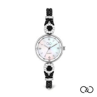 【C&C】簡約經典皮繩圓腕錶(黑×銀)