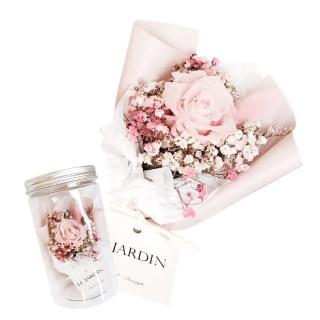 【LJ.Flower 詩意花園】永生玫瑰小花罐(溫柔櫻花粉)