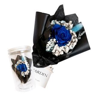 【LJ.Flower 詩意花園】永生玫瑰小花罐(寶藍爵士)