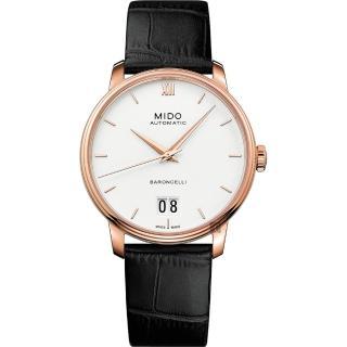 【MIDO 美度】BARONCELLI 永恆系列 III 大日期機械錶-銀x黑色皮帶/40mm(M0274263601800)