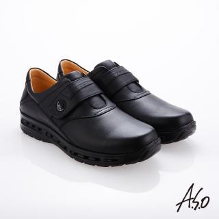【A.S.O 阿瘦集團】霸足氣墊 魔鬼氈奈米牛皮氣墊鞋(黑色)