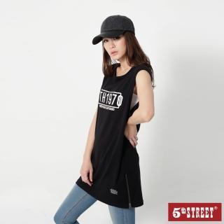 【5th STREET】女長板背心T恤-黑色