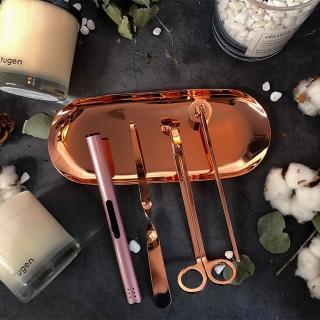 【香氛時光】香氛蠟燭 滅燭配件 蠟燭剪 燭剪 燭芯剪 點火器 燭芯鉤 托盤 滅燭罩 全套五件組(四色任選)