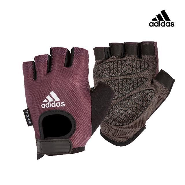 【adidas 愛迪達】Training 女用彈性半指手套-薄霧紫(S-M)