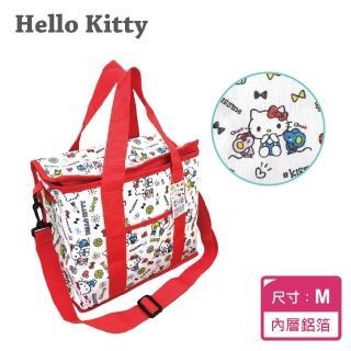 【SANRIO三麗鷗】Hello Kitty 野餐保溫保冷袋M(約12L大容量!!前方口袋設計好貼心!增加背帶設計!)