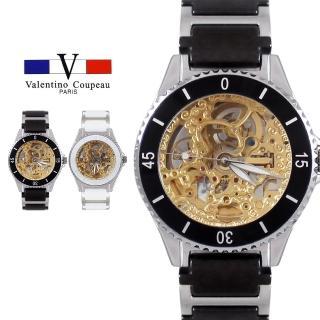 【Valentino Coupeau】范倫鐵諾 古柏 鏤空機芯自動機械陶瓷帶手錶(黑色)