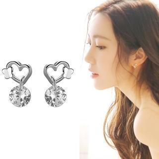 【梨花HaNA】韓國柔美愛心蝴蝶之吻鋯石垂墜耳環