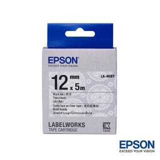 【EPSON】標籤帶 花紋系列 透明圓蕾絲底黑字/12mm(LK-4KBY)