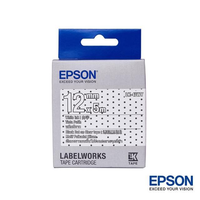 【EPSON】標籤機色帶花紋系列透明黑點底白字/12mm(LK-4LWY)