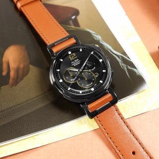 【ALBA】復刻計時 礦石強化玻璃 日期 防水100米 真皮手錶 黑x咖啡 44mm(VD53-X303J.AT3D69X1)