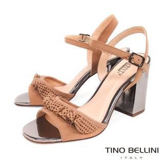 【TINO BELLINI 貝里尼】巴西進口百摺牛皮緞帶高跟涼鞋B83224(杏)