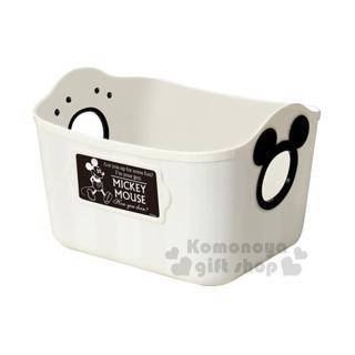 〔小禮堂〕迪士尼 米奇 日製置物籃《2.5L.白.造型提把.方形》輕鬆美化空間