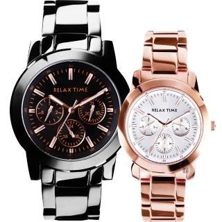 【Relax Time】時尚達人日曆顯示情侶手錶 對錶-42+38mm(R0800-16-10X+R0800-16-32)