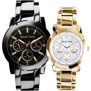 【Relax Time】金色閃爆你日曆情侶對錶-42+38mm(R0800-16-21X+R0800-16-30)