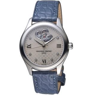 【CONSTANT 康斯登】雙心開芯機械女腕錶(FC-310LGDHB3B6)