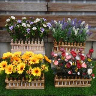 【園藝世界】人造花-花朵長槽盆