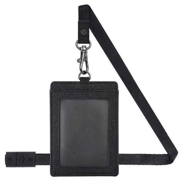 【MONDAINE 瑞士國鐵】直式牛皮安全釦證件套(十字紋黑)