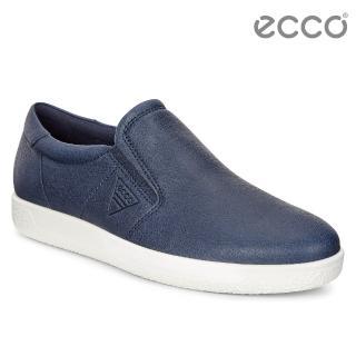 【ecco】SOFT 1 MENS 極簡單色套入式牛皮休閒鞋 男(藍 40056401038)
